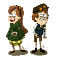 Steampunk Mystery Twins by HeroismInACan