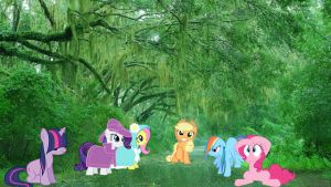 Mane 6 In The Rain by Macgrubor