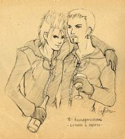 F.Sketch09-2: Luxord + Demyx by Asaphira