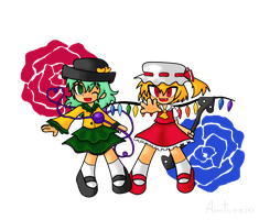 Koishi and Flandre by aimturein
