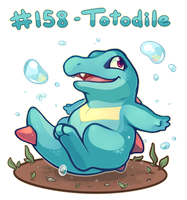 Pokemon #158 - Totodile by oddsocket