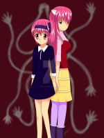 Elfenlied Nana and Lucy by NikkouViolet