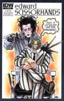 Edward Scissorhands and Beetlejuice Sketch Cover by timshinn73