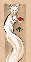 Tea Fox Bookmark by DrunkenSaytr