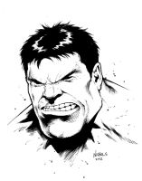 Hulk head sketch inks by FlowComa