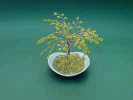 Bonsai Wire Tree Sculpture Golden Beaded by sinisaart