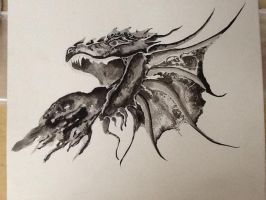 Ink Wash Dragon Head by nerikomi