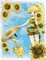 Yellow, Chuchu and Sunflower by chikorita85