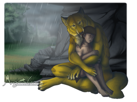 . Commission . Shelter from the Rain . by ShadowCatsKey