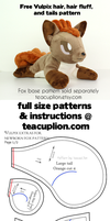 Free Vulpix parts plushie sewing pattern by TeacupLion