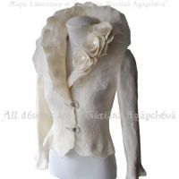 Bridal Jacket Felted Ivory Long Sleeves SPLENDOUR by TianaChe