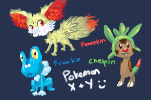 Pokemon X and Y Starters by FeatheredSoap