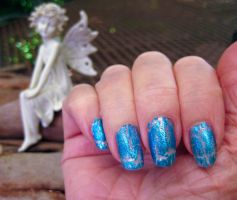 Blue Crackle on White by MayEbony