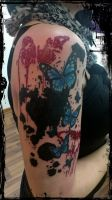 Trash Art Butterfly Tattoo by TattooBodo