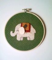 White Indian Elephant Embroidery Hoop by msmegas