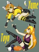 Cat and Fox girls by lepler