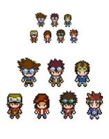 Digimon main characters overworld sprites by Lucky96u