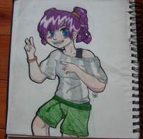 Purple Haired Girl by ButterflyColour