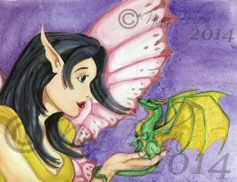 Fairy and Dragon Watercolor painting by The-GoblinQueen