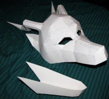 Paper Dragon Mask by chickentech