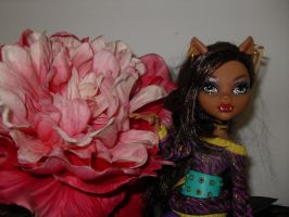 clawdeen and flower 1 by Chenae00