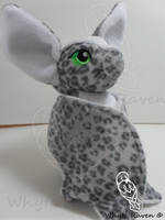 Grey Leopard and White Bat Plushie by Whyte-Raven