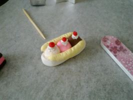 Polymer Clay Banana Split by FullmetalDemigod