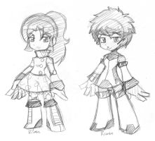 robot Girls sketches by rongs1234