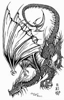 Swooping Black Ink Dragon by elite-dragons