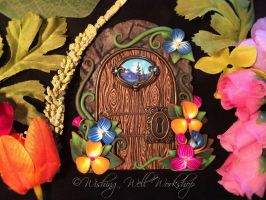 Polymer Clay Spring Fairy Door by missfinearts