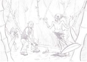 Zombies fighting in bamboo forest with lightsabers by zokwani