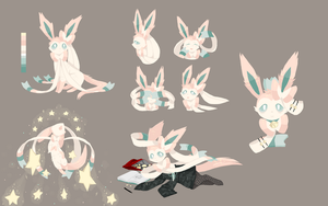 sylveon pokesona art dump by Amphibnia