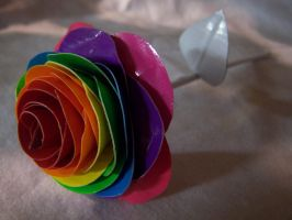 Rainbow DuctTape Rose by SilenceWriter