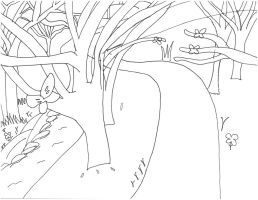 Shifters Momentia Forest Path Background1 (Sketch) by SamuXchan