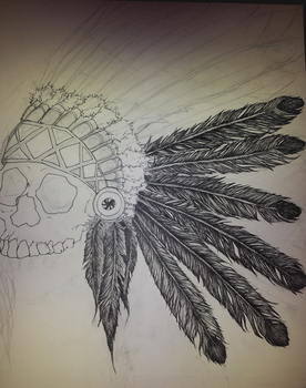 Skull and Feathers by DreamingCrows