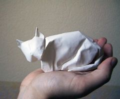 Resting Cat - Origami by mitanei