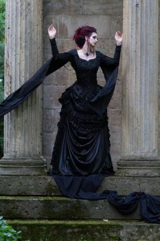 Stock - Victorian lady wind pose dark magic by S-T-A-R-gazer