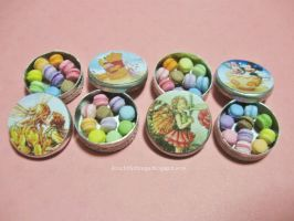 Miniature Rainbow Macarons Tin Boxes by ilovelittlethings