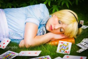 Alice in Wonderland sleeping cards queen cosplay by chamellephoto