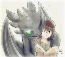 Hiccup and Toothless by idolnya