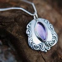 Spoon Pendant with Amethyst by metalsmitten