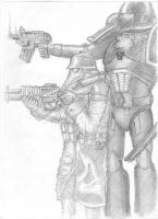 Death Korps Guardsmen and Space Marine by Bozikis