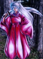 Inuyasha under the moon by Virangelus