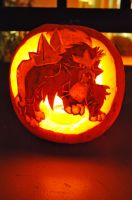 Entei Pumpkin by shycatgirl