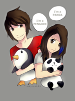 Penguin and Panda SPEEDPAINT by Zombiezul