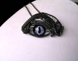 Violet Steampunk Dragon Eye in Aqua Glow 2 by LadyPirotessa