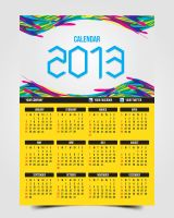 Abstract Colorful 2013 Calendar Template by pascreative