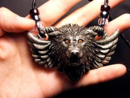 Guardian Wolf pendant in Gray by Meadowknight