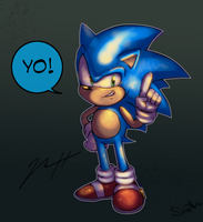 Posing Sonic colored and stuff by Gigi-D