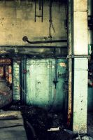 Blueish Wall In Boiler Room by Shreever